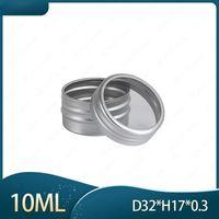 10ml Aluminium Screw Tin Packing Boxes with Clear Window Metal Jar Pot Cans for Lip Balm Nail Art Makeup DIY Cream