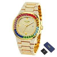 Pintime Hip Hop Watch Bling Diamond Mens Часы Лучшие бренд Роскошные золотые часы стальные кварцевые наручные часы Montre Homme Zegarek Meski Relojes