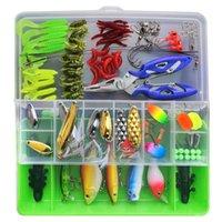 Fishing Accessories 101Pcs Lure Kit Set VIB Soft Hard Spoon Crank Baits Hooks Spinner Crankbait Minnow Tackle Box