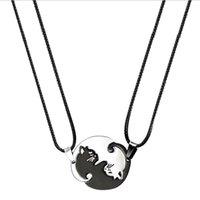 Collane a sospensione 1 coppia giuntura gatto collana coppia collana in acciaio inox amore cuore rotondo yin yang monili moda gioielli unisex regalo