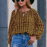 Women's Blouses & Shirts Women Long Sleeve V-neck Blouse 2022 Fashion Plaid Print Shirt Single Loose Casual Female Lace Up Tops Y