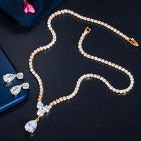 Conjuntos de joyas de boda Bling Cubic Zirconia Drople Drop Mujer Collar Pendientes Pendientes Conjunto Trendy Africano Nigeria Oro Bridal T545