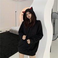 Women's Hoodies & Sweatshirts Moletom com orelha de gato feminino, blusa pelúcia fashion coreana solta capuz médio primento feminina inverno D82E
