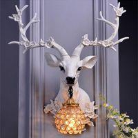 Wall Lamps Vintage Luxury Resin Deer Lamp Animal Shade LED Modern Decor Kitchen Light Bedroom Indoor Lighting Sconce