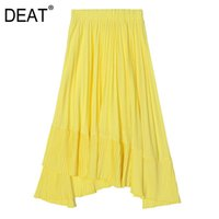 Skirts DEAT 2021 Stocks Items High Waist A-line Asymmetrical Pleated Half-body Skirt Female Fashion Bottoms WK47207