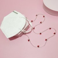Sunglasses Frames Eyeglass Lanyard Unisex Anti-lost Cherry Face Mask Necklace Cord Holder Acrylic Beaded Chain Crystal Glasses