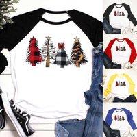 Kadın T Gömlek Moda Tasarımcılar Kış Noel Ağacı Baskılı Raglan Uzun Kollu Tees Polos Eşleştirme Tayt ve Elbiseler