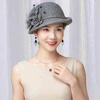 Beckyruiwu Lady Parti Örgün Cloche Şapkalar Zarif Fedora Şapka Kadın Kış Asimetrik Ağız 100% Yün Keçe Bere Kap