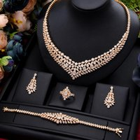 Luxury Women Noble Gold Bangle Earrings Necklace Ring Jewelry Set For Brides Wedding Jewellery High Quality Gorgeous &