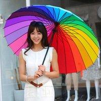 Raincoats 24 bone rainbow long large size straight handle men's three color plain advertising umbrella