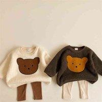 Милансель зимние детские толстовки милый медведь костюм мальчики толстовки флис девушки пуловер 210901