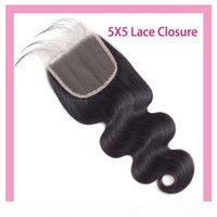 Peruvian Virgin Hair Unprocessed Human Hair Body Wave 5X5 Lace Closure With Baby Hair Five By Five Closure 8-26inch