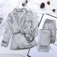 Тренажерный зал Одежда Hiloc Velvet Теплая пижама для женщин одежды и брюки твердый карман с длинным рукавом толстый дом носить осенний ночной костюм зима повседневная