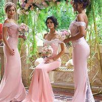 Pink Cheap Bridesmaid Dresses 2021 Off Shoulder Lace Appliques Mermaid Bridesmaid Dress Back Button Sweep Train Formal Dresses Evening Wear