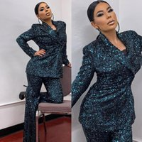 Green Sparkly Sequins Women Suits Customized Glitter Long Sleeve Slim Fit Blazer Trousers Jacket Leisure Pants Coats 2 Pieces