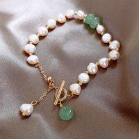 Charm Bracelets Baroque Freshwater Pearl Design OT Buckle Bracelet Girlfriends Hand Ornaments Simple Temperament Jewelry Wholesale