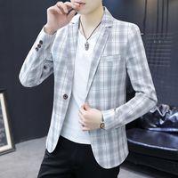 Casual terno masculino estilo coreano auto-cultivo tendência xadrez pequena primavera britânica e outono único jaqueta ocidental yout ternos homens blazers