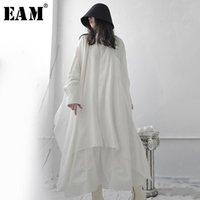 [EAM] Женщины белый длинный асимметричный большой размер Longblousous New raper с длинным рукавом Свободная подходящая рубашка мода весна осень 2021 1S668