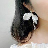 Women's Summer Lace Bow Pearl Tassel Earrings dangle Fashion Simple Women jewelry Stud Earring