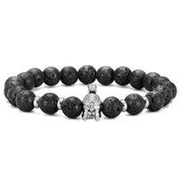 أزياء الرجال المتقشف الزركون خوذة المحارب سوار أسود الحمم صخرة تمتد مجوهرات هدية كلاسيكية مطرز، خيوط