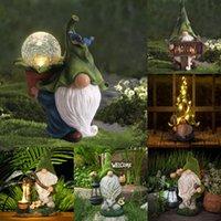 Résine vilain jardin gnome solaire lumière drôle statue dress noël décoration décoration décoration décoration décoration