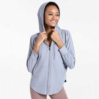 Yoga Outfits Женщины быстрый сухой UPF 50+ защита от солнца с длинным рукавом бегущая рубашка полная zip Hoodie легкая туризм фитнес куртка йога одежда