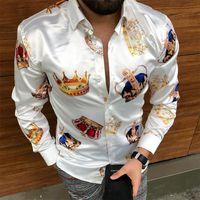 الرجال اللباس قمصان فاخرة تاج مطبوعة قميص الرجال 2021 الخريف طويلة الأكمام ضئيلة عارضة الشارع الشهير حزب الملابس camisa الغمد