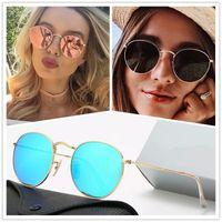 3447 Designer Sunglasses Brand Mens Women Mirror Sunglasses Classic Round Sunglasses UV400 Eyewear Metal Gold Frame Sun Glasses Polaroid glass Lens With Box