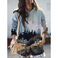 Fashion Oversized Hoodies Hooded Mountain Printed Tops Sweatshirt Female Ladies Autumn Winter Plus Size Pullovers Women's & Sweatshirts