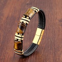 Charm Bracelets Natural Stone,Tiger Eye Bracelet,Black Leather Rope Chain,Men Bracelet,Stainless Steel Bracelet,Women Fashion Jewelry,Wholes