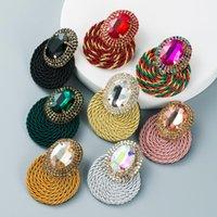Handmade Weave Big Crystal Stud Earrings Women Fashion Party Jewlelry Multi Colors Exaggerate Oval Stone Earring
