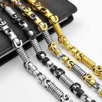 Stainless Steel Necklace 8mm Geometric Byzantine Link Chain Black Gold Silver Color Men Women Jewelry SC57 N Chains