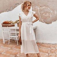 2 ألوان النساء فساتين الفرنسية الرجعية أنيقة ضمادة القوس قصيرة الأكمام الدانتيل الخامس الرقبة اللباس الصيف الربيع اللباس الأزياء مزاجه