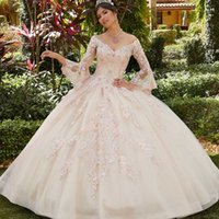 2022 Chic Ball Gown Quinceanera Dresses Lace Long Sleeve Princess Prom Gowns Tulle Skirt V Neck Sweet 15 Masquerade Dress