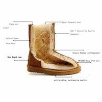 부츠 스폰지 마우스 클래식 정품 소 가죽 가죽 눈 100 % 양모 여성용 따뜻한 겨울 신발 대형 크기 34-44