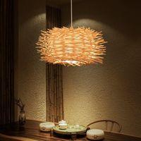 Kolye Lambaları Kuş Yuva Lambası Işık Nordic Rattan Hasır Ahşap El Yapımı El Restoran Cafe Oturma Yemek Odası Süspansiyon Aydınlatma WF