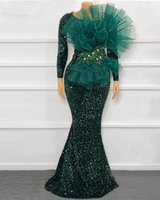 Sparkly Sequins Evening Dresses 2021 Sexy Mermaid Long Sleeve Dark Green African Black Girls Prom Gowns robes de soirée
