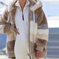 Bayan Kış Coat Moda Ceket Kadın Rahat Sıcak Ceket Kadın Dikiş Ekose Bayanlar Giysileri Kapüşonlu Fermuar Bayanlar Coat 2021
