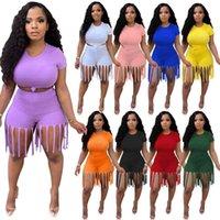 Designer Womens Trainingsanzüge Unabhängige reizende massive Farbsport-Quaste-Hosen mit zwei Stück Set Leggings plus Größe S-5XL