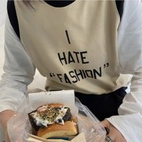 Kadın T-Shirt Ctrllock Sonbahar İngilizce Mektup Baskılı Kadın Pamuk T-Shirt Yuvarlak Yaka Yüksek Sokak Uzun Kollu Sahte İki Adet