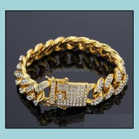 Link, Jewelrymens Hip Hop Gold Jewelry Simated Diamond Iced Out Bracelets Miami Cuban Link Chain Bracelet Drop Delivery 2021 Uoysb
