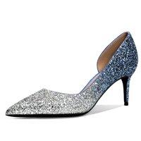 Sapatos de vestido 2021 Pink Blue Sliver casamento mulheres lantejoulas de salto alto gradiente de cristal banquete de cristal bride bride bombas n0098