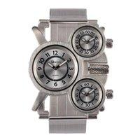 Reloj 1167 Big Dial Men 3 Zona horaria Banda de malla de acero inoxidable Relojes de pulsera de cuarzo Relogio Masculino Reloj Hombre