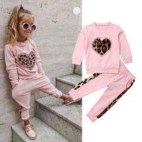 1-5 år Höst Winter Toddler Kids Barnflickor Kläder Tracksuit Satser Rosa Långärmad Leopard Toppar Långbyxor Outfits