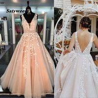 Chic Beautiful Prom Dresses Long A-line V neck Applique Evening Gowns Beading Sash Peach Formal Dress