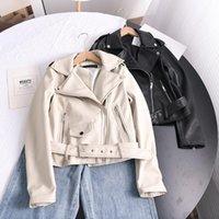 Women's Leather & Faux Ailegogo 2021 Spring Autumn Soft Short Jacket With Belt Women Lapel Pu Coat Black Zipper Moto Biker Outwear
