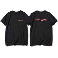 2021 Mens Frauen T-shirt Mode Sommer Wellenmuster Männer Selektierter Hemden Mann Kleidung Straße Designer Kleidung
