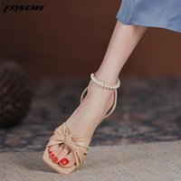 Sandals Temperament Elegant 5cm Mid-Heel High Heels String Bead Butterfly-Knot Female Summer Party Dress Thick Heel Womens Shoes