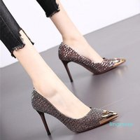 Fashion-Dress Shoes High Heeled Metal Pointed Single Spring And Autumn Fairy Evening Thin Women's