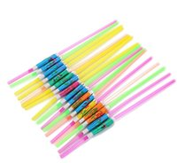 2021 Wholesale-(6000 pcs lot) 9.4'' 24cm eco-friendly solid color plastic drinking straws with paper umbrellas Cocktail straws